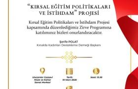 """""""Kırsal eğitim politikaları ve istihdam"""" projesi  Zirve Programı"""